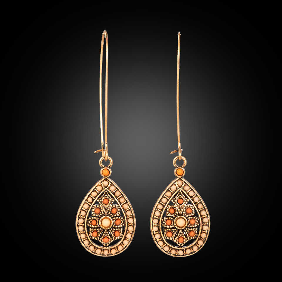 Vintage Boho India Ethnic Water Drip Beads Dangle Drop Earrings for Women Female 2018 Wedding Party Jewelry Accessories
