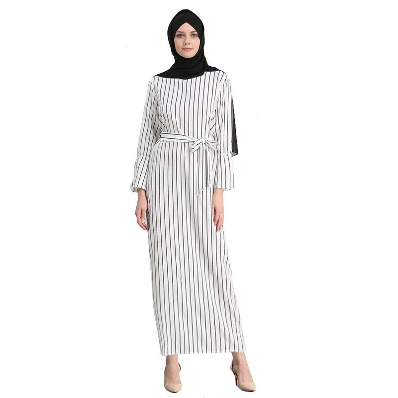 MZ Garment Women Muslim font b Dresses b font For Summer Striped Slim Waist Belt Cotton