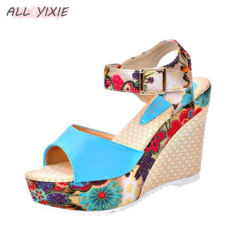 ALL YIXIE 2019 New Fashion Women Summer Shoes Platform Wedges Casual Shoes Woman Floral Super High Heels Open Toe Sandal in High Heels from Shoes