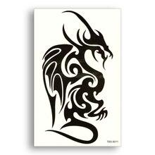 Waterproof Tattoo Stickers Black Dragon Tribe Totem Half Sleeve Leg Temporary Tattoos Fake Tattoo Women Men Body Art Pterosaur