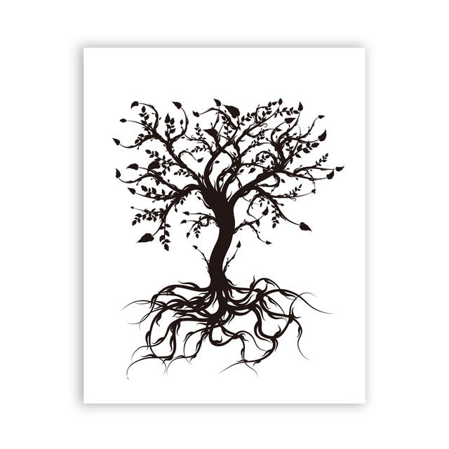 Us 3 42 20 Off The Tree Of Life Art Print Wall Pictures Modern Black And White Abstract Tree Canvas Painting Home Living Room Art Decoration In