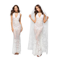 Women Summer Dresses Cloak Two Sets Sexy Lace Maxi Beach Party Dress Transparent Embroidery Boho Long Sheath Wedding Night Dress