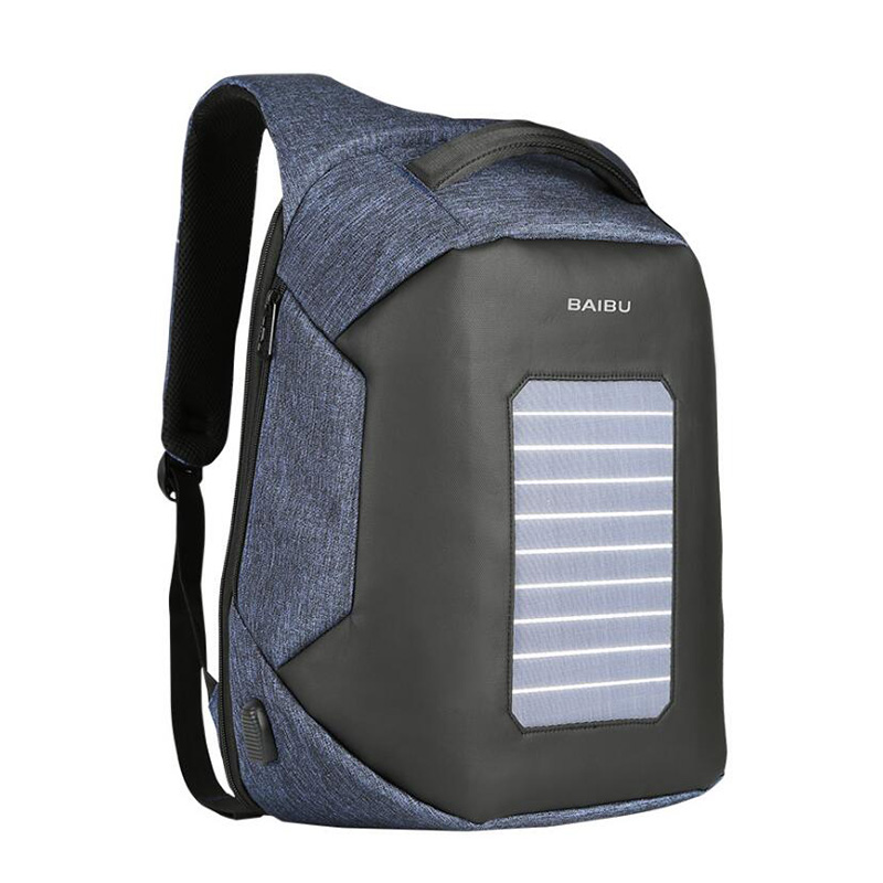 BaiBu Men Backpack Fashion Anti-theft Waterproof Solar Energy USB Charging 15.6inch Laptop Backpack School Bags For Teenagers voyjoy t 530 travel bag backpack men high capacity 15 inch laptop notebook mochila waterproof for school teenagers students