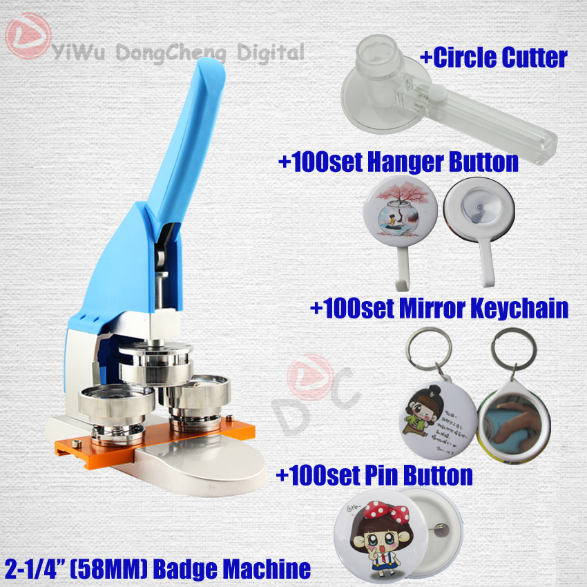 New Pro 2-1/458MM badge Making Machine + Circle Cutter+ pin buttons+mirror with keychain+hanger button 58MMbadge Package 14kt yellow gold baby badge with st barnabas charm and angel w wings badge pin 1 x 3 4 inches