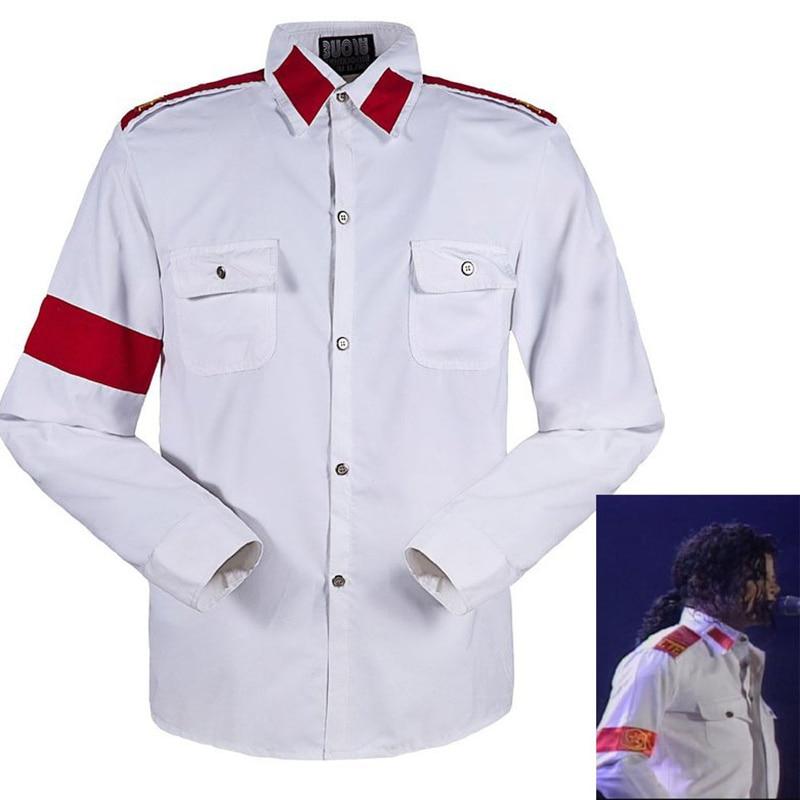 Memória Michael Jackson MJ férfi tükörben Háborúellenes hímzés Stitchwork fehér CTE alkalmi ing Sark a rajongóknak