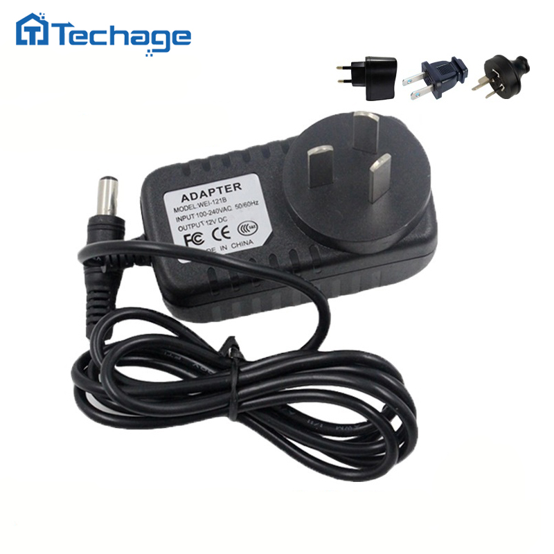 Techage 12V 1A Power Supply AC 100-240V Power Adapter wall charger DC 5.5mm x 2.1mm EU/AU/UK/US Plug For Security CCTV Cameras 100pcs us eu uk au plug ac line 1 5m dc line 1 2m ac100 240v to dc 24v 1a 24w power adapter 24v1a ac adapter