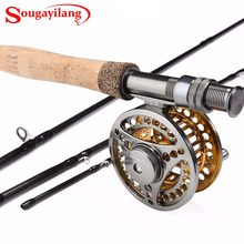 Sougayilang Fly Fishing Rod and 5/6 Fly Reel Sets 2.7m Carbon Freshwater Fly Rod Full Metal Fishing Reel Combo Fish Tackle Pesca(China)