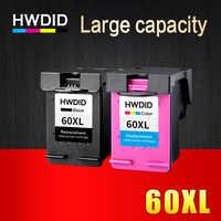 HWDID 60XL Cartouches D'encre Rechargées Remplacement pour HP 60 XL pour Deskjet D2530 D2545 F2430 F4224 F4440 F4480 ENVY120 C4650 C4680
