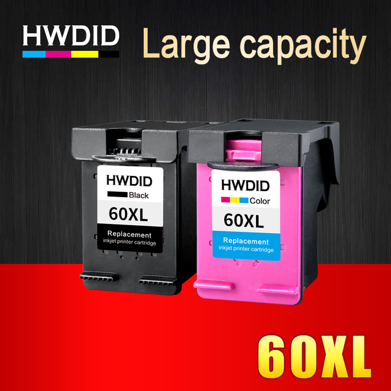 HWDID 60XL Refilled Ink Cartridges Replacement for HP 60 XL for Deskjet D2530 D2545 F2430 F4224 F4440 F4480 ENVY120 C4650 C4680 abs case with cooling fan heatsink removable top cover
