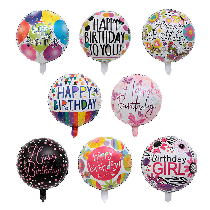 2019 Fashion 50pcs /lot 18inch Printed Girls Birthday Foil Balloons Round Happy Birthday Balloon Birthday Party Decoration Kids Toy Decor Chills And Pains Home & Garden