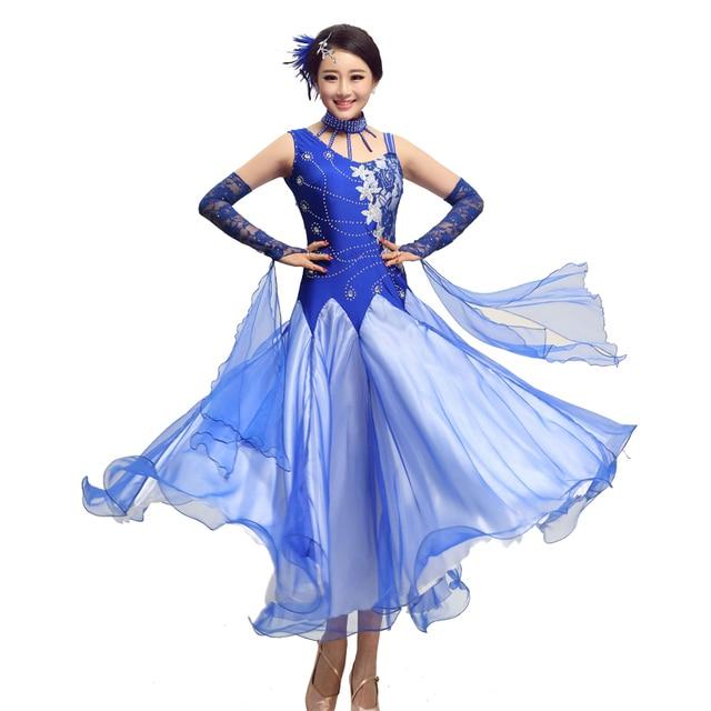 151b85c6b 3 Color lace sleeve Ballroom Dancing Dress Modern Dance Competition ...