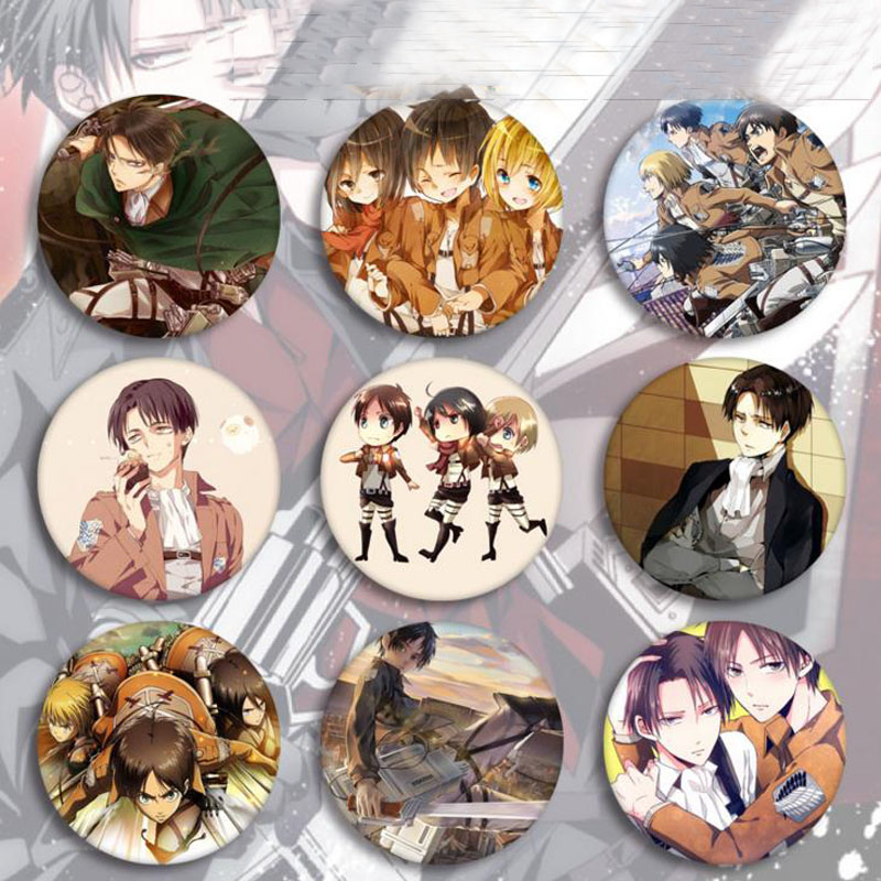 5 Pcs Hot Sale Anime Attack On Titan Cosplay Badge Cartoon Brooch Pins Collection Bags Badges For Backpacks Button Clothes Toys