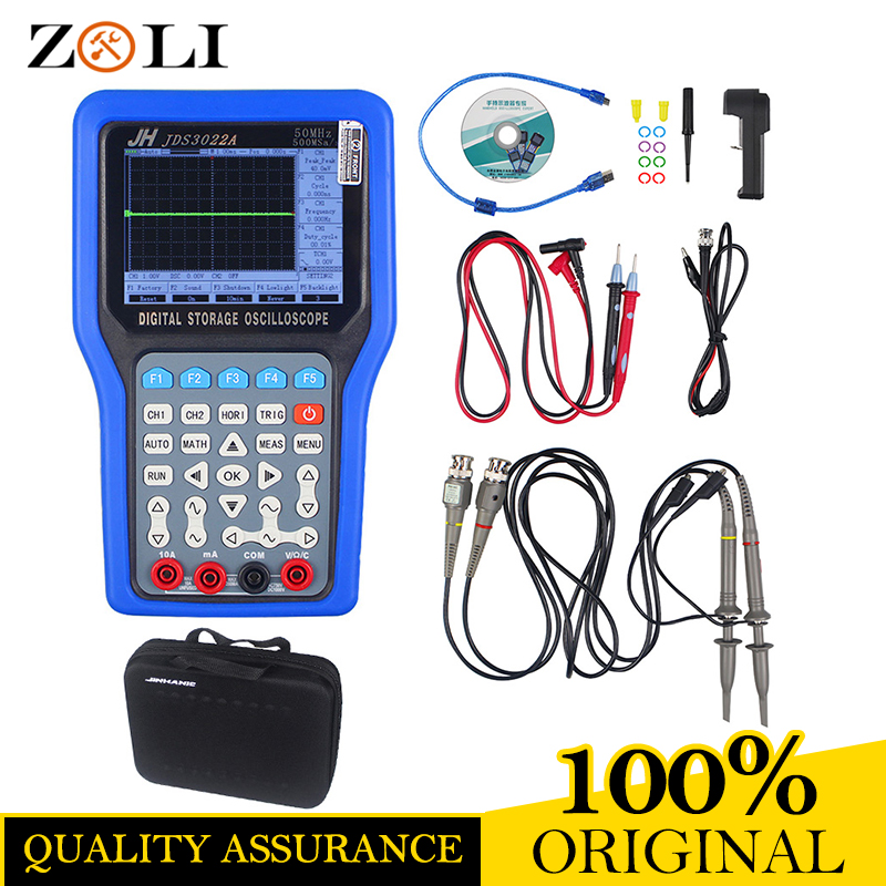 Handheld Digital JDS3022A Storage Oscilloscope Jinhan JDS3022A 500MSa/S Max Samples 50MHZ 2CH DDS Signal Generator JDS3022A цена
