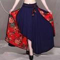 Moda de las mujeres falda nueva ropa de estilo vintage de cintura alta patchwork irregular del tobillo longitud de la falda 2016 del otoño del resorte