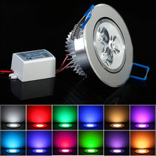 1X LED Ceiling Light RGB Red Blue Green White Warm Recessed Ceiling Lamp AC85-265V Spot Light LED Lighting Wholesale