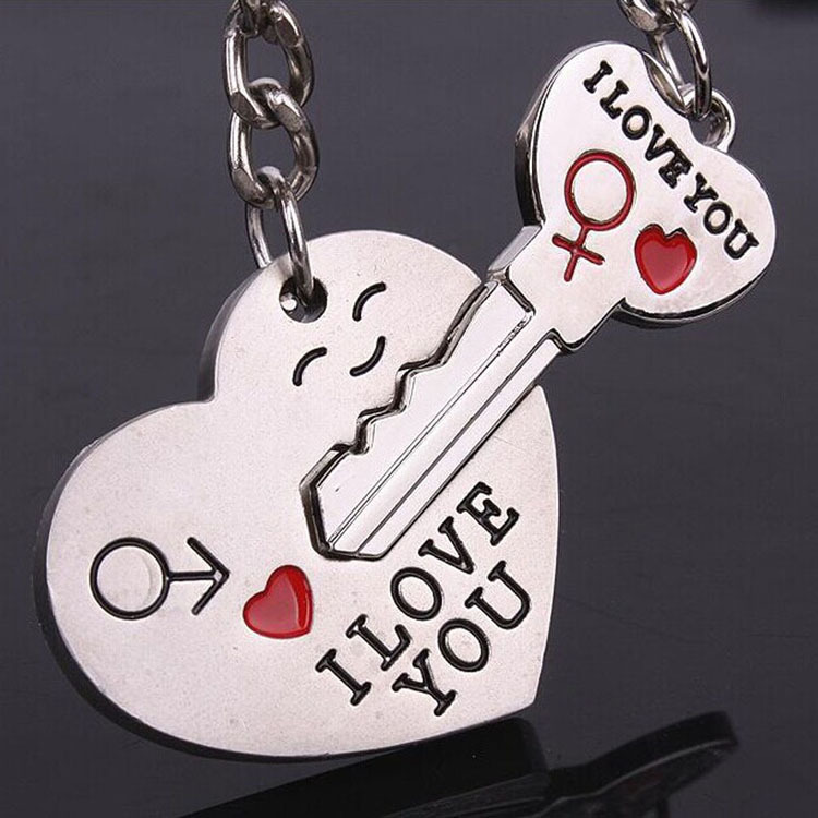 US $0 9 55% OFF|I Love You A Couple Heart And Key Shaped Pendant Keychain  Set Valentine's Day Lovers Gift car key ring Key chains-in Key Chains from