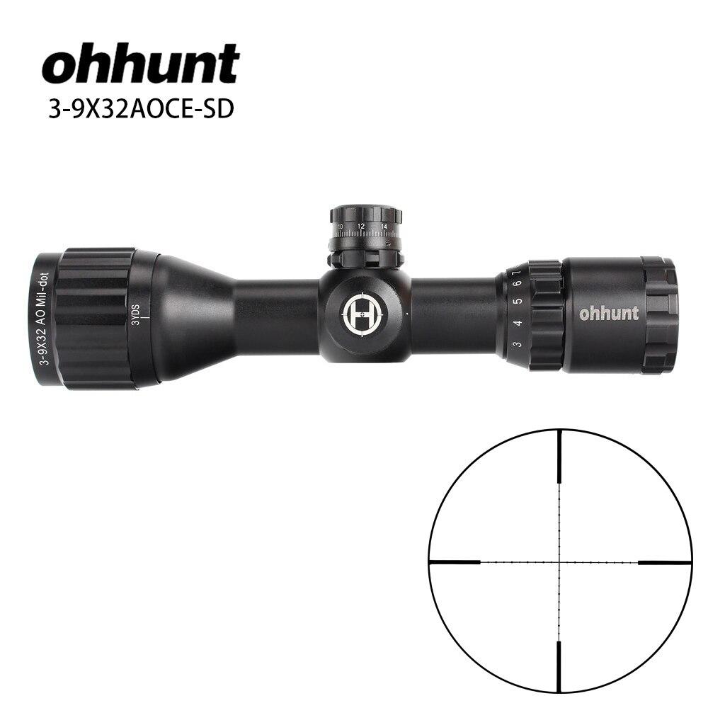 Hunting ohhunt Optics 3 9x32 AO Compact 1 2 Half Mil Dot Reticle Riflescopes Turrets Locking