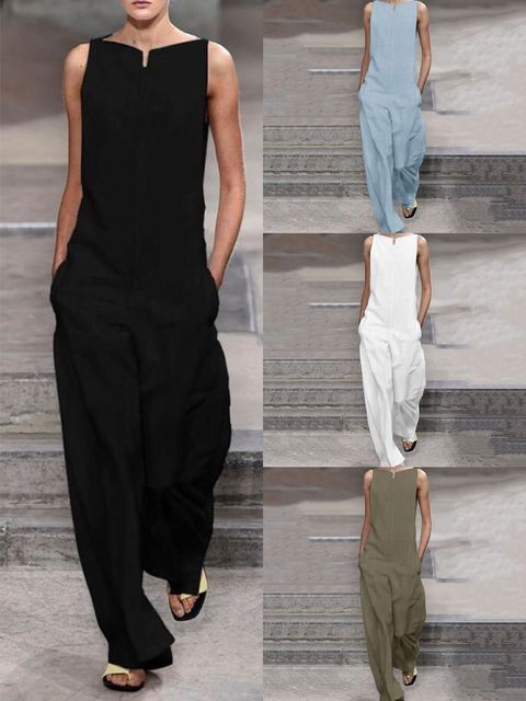 Solid color jumpsuits for casual ladies in Europe and America