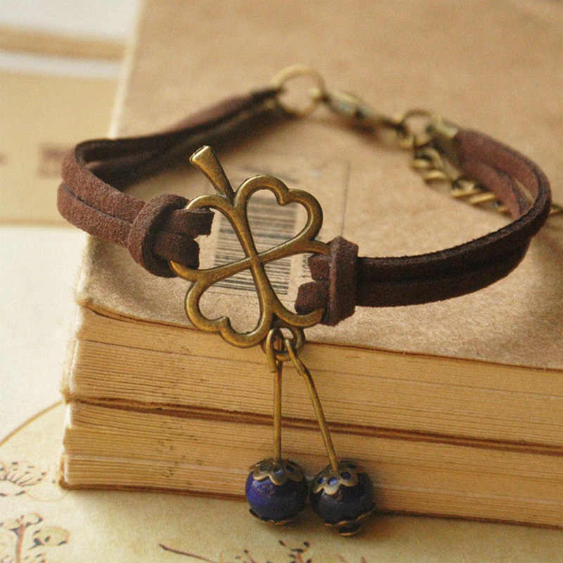 Clover Charm Bracelets Leather Chain Cuff Bangle Flower Ceramic Beads Wristbands Adjustable Women Bohemian Jewelry