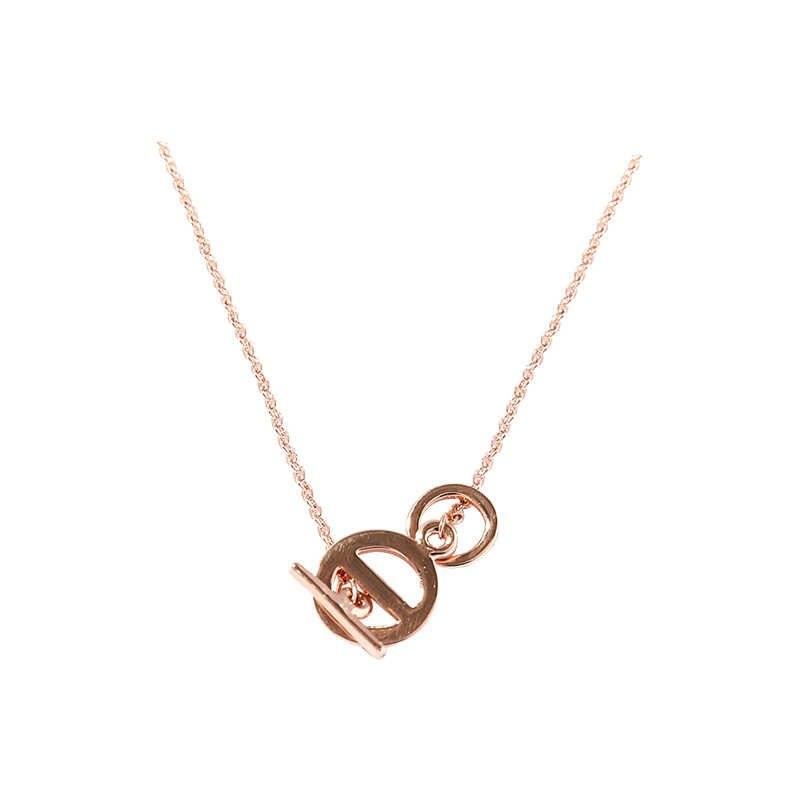 Podwójne okrągłe serce naszyjnik kobiet krótki ustęp rose złoty wisiorek łańcuszek do obojczyka damska biżuteria prezent urodzinowy