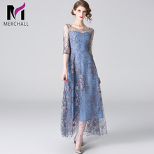 Merchall 2019 New Women Designer Lace Maxi Dresses Runway Party Vestidos High Quality Mesh Patchwork Hollow Out