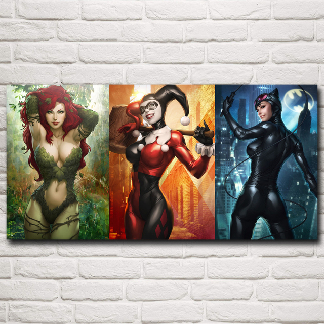 FOOCAME Comics Catwoman Anime Harley Quinn Art Silk Fabric Poster Print Picture Home Wall Decor Painting 12x24 15x30 20x40 Inch