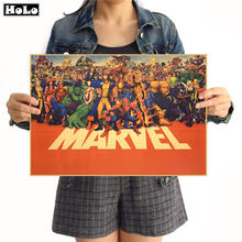 MARVEL Cuadros Super Hero Retro Kraft Movie Poster Antique Wall Art Crafts Sticker Living Room Paint Bar Cafe Core 42x30cm(China)