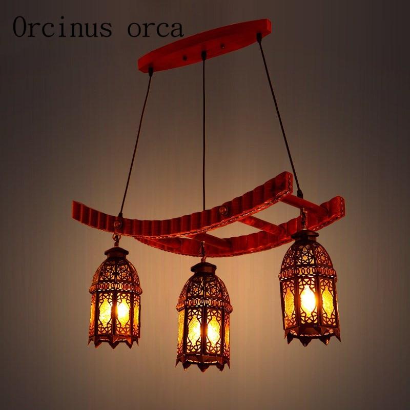 on sale 15d75 62720 US $246.0 |European Mediterranean retro solid wood chandeliers restaurants  study rooms bars Morocco style minimalist Chandelier-in Pendant Lights from  ...