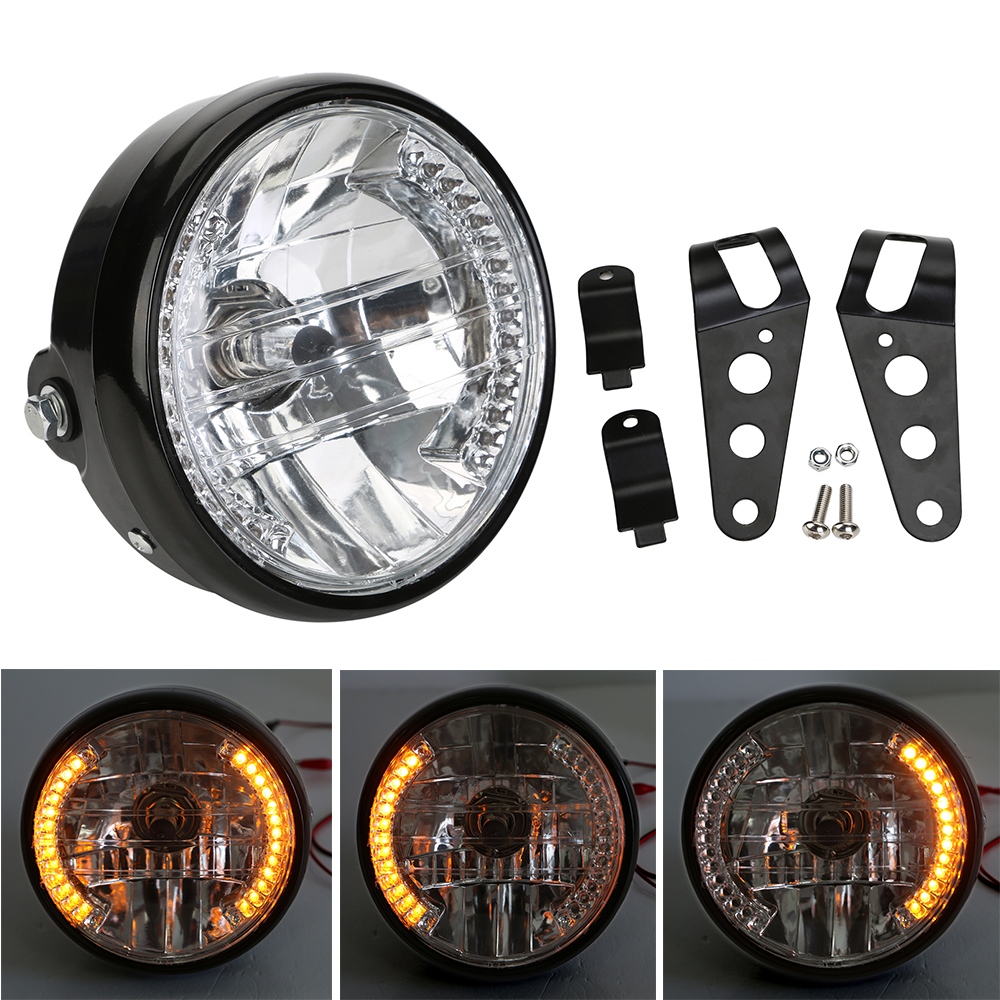 Amber LED Round 7 Motorcycle Headlight With Turn Signal with Mounting Bracket For Harley Chopper Cafe Racer Bobber