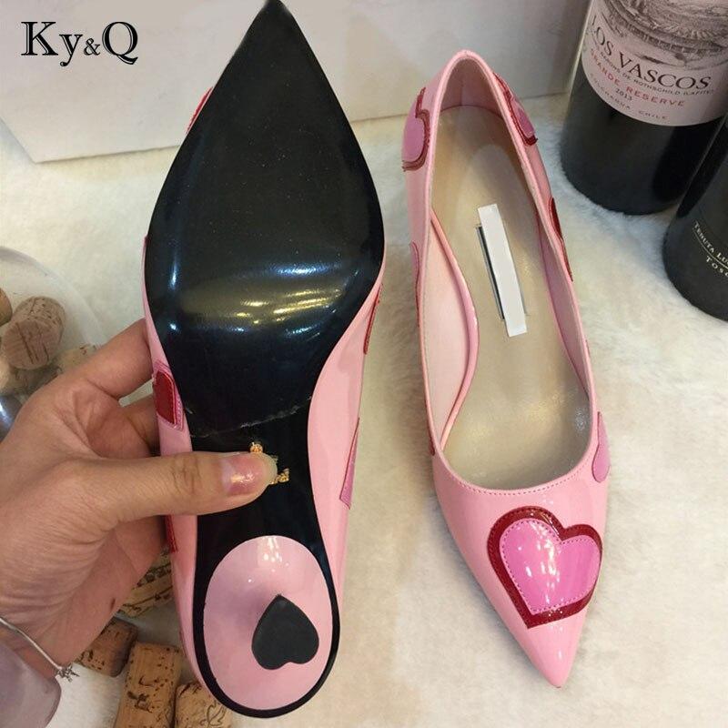 Baile Rosa De Mujeres Corazón Señoras 8 Del Boda Mujer Tacón Cm Alto Pie Tamaño Puntiagudo Cm Las Zapatos Cuero Dedo Decoración 5 vg7YYwq