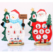 1Pc Mini Table Decoration Wood Christmas Snowman Santa Claus Elk Ornament Wooden Xmas Decor Crafts Indoor