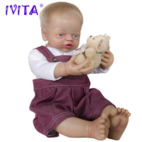 IVITA 22 Inches Full Silicone Dolls Reborn Metal Skeleton Silicone Reborn Baby Dolls Root Hair Silicone Doll Blue Eyes Girl Toys