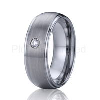 8mm men jewelry ring cz stone love wedding band tungsten ring for couples classic traditional USA style
