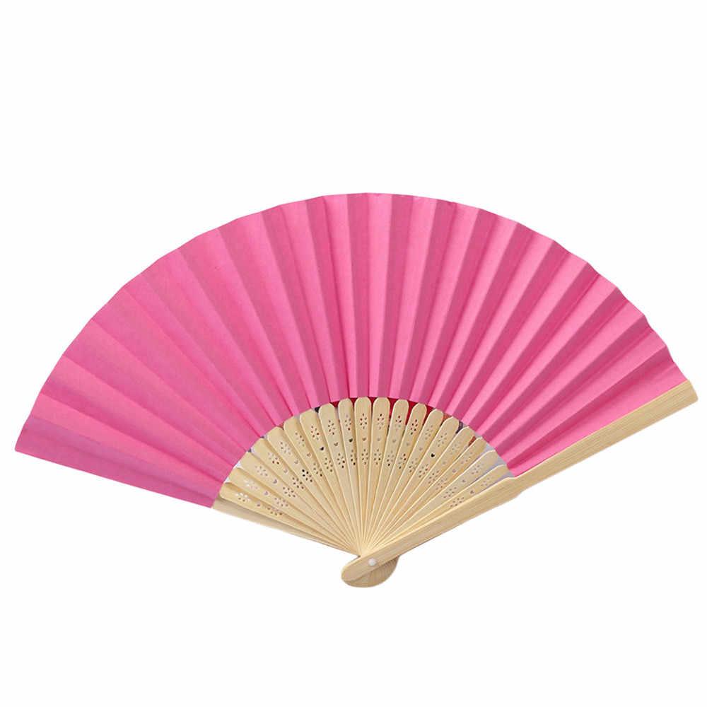 Patroon Folding Dance Wedding Party Lace Silk Folding Handheld Effen Kleur Fan 7 inch vouwen papier Fan drop schip 2019 nieuwe