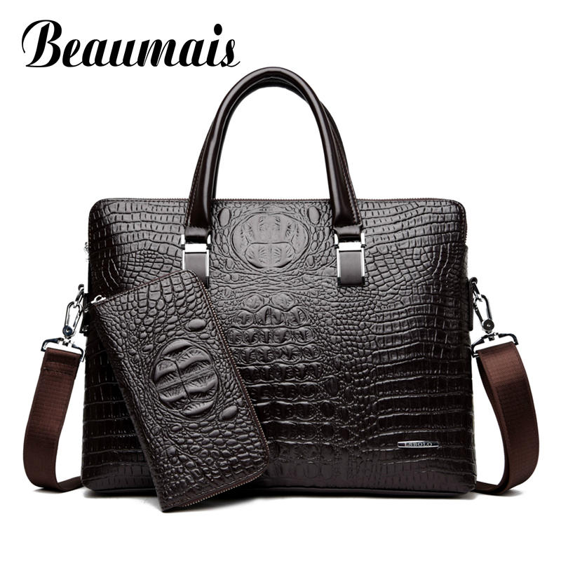 Beaumais Men's Bag Crocodile Pattern Leather Briefcases Men Shoulder Bag Messenger Bag Business Handbag Laptop Bag DF0333
