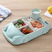 Bamboo Fiber Infant Training Dishes Baby Food Containers Baby Feeding Cartoon Car Bowl Cup Plates Sets Children Tableware Pratos