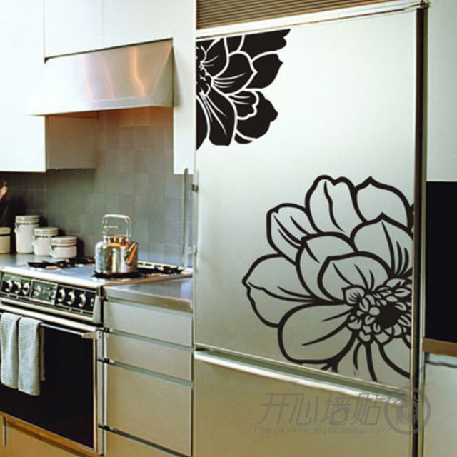 Hot Sale Refrigerator Kitchen Cabinet Decoration Big Flower Wall
