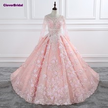 CloverBridal romantic flowers sequins pearls crystals beaded pink bridal dress elegant long sleeves o neck 1 meter train