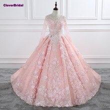 CloverBridal romantische bloemen pailletten parels kristallen kralen roze bridal elegant lange mouwen o hals 1 meter trein