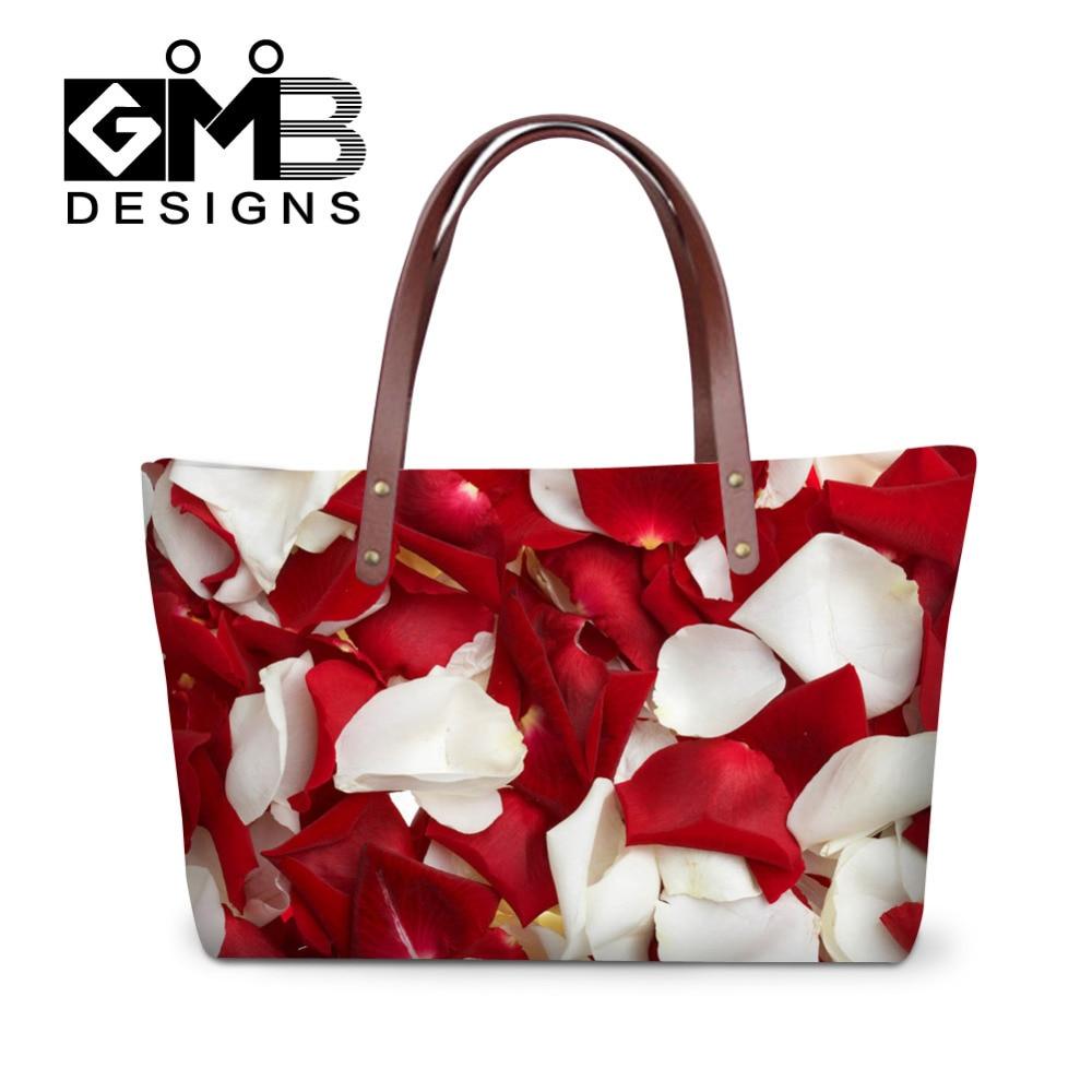 로즈 여성 큰 토트 플라워 3D 인쇄 여자 핸드백 여자 여행 가방 여성 Bolsa Feminina 2016 메신저 가방 단풍