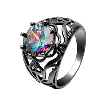 купить Hollow Colorful Vintage Rings for women 2019 Trendy Black gold-color Fashion Jewelry Hot Engagement Wedding Rings in CZ Gem по цене 285.93 рублей