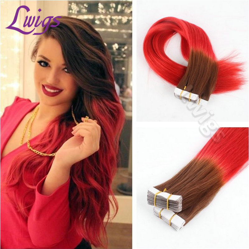 Ombre tape hair extensions 7a brazilian remy ombre brown red ombre tape hair extensions 7a brazilian remy ombre brown red straight 40pcs adhesive pu skin weft tape in human hair extensions in skin weft hair extensions pmusecretfo Choice Image