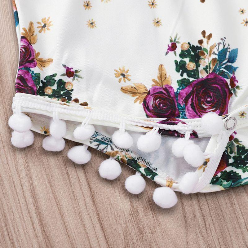 Купить с кэшбэком 2 Pcs/set Children Suit Rose Print Pattern Plush Ball Onesies Clothes Hair Band Kids Girls Floral Suits Seaside Style Vacation