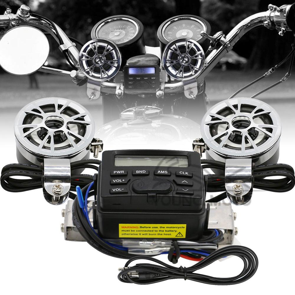 Motorcycle Handlebar <font><b>Mount</b></font> FM AM Audio Radio MP3 Speaker AUX Input for Harley Davidson Honda Kawasaki Suzuki Yamaha Cruiser Bike