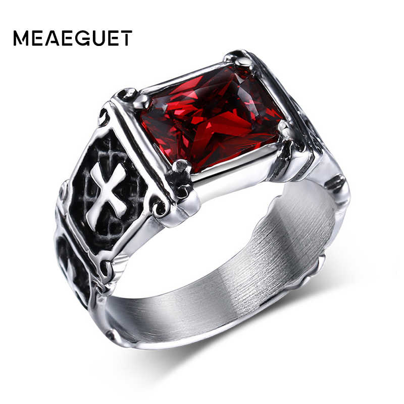 Vintage Red Crystal Stone Knight Ring Jewelry For Men Stainless Steel Cross Pattern Middle Ages Style Anel Cruz Dropshipping