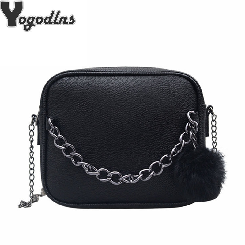 Women Messenger Bag Chains PU Leather Shoulder Bag Vintage Small Mini Flap Bag Fur Ball Decor Bolsas Crossbody Handbags
