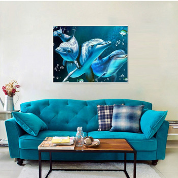 Huacan DIY 5D Diamond Painting Animals Dolphin Diamond Mosaic Cross Stitch Diamond Embroidery Full Rhinestones