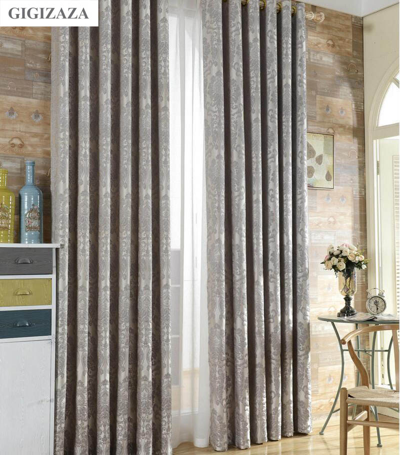 Silk Flower Jacquard Window Curtains For Livingroom GIGIZAZA Silver 3D Floral Black Out Luxury Drapes