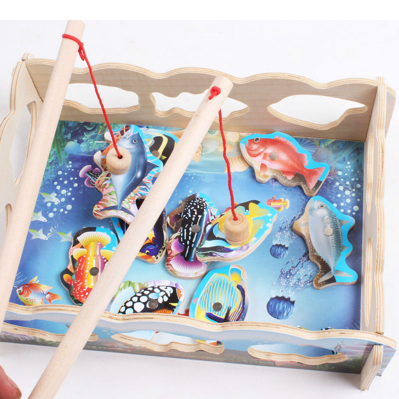 Free Shipping Children's Fun Fishing Magnetic Wooden Puzzles, Kids Wooden Assembly Toys Pretend Play