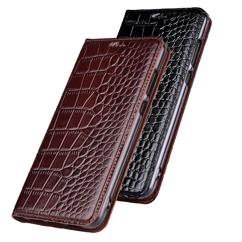 Top Genuine Cow Leather Case For Xiaomi Redmi Note 6 7 8 8T Pro 8A K20 K30 Pro Case Cover Stand Flip Crocodile Grain Phone Case